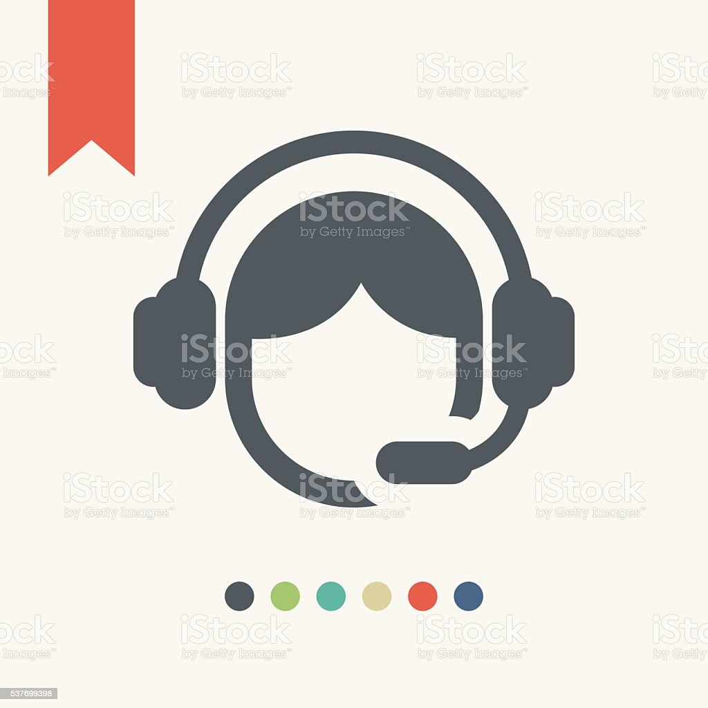 call center operator icon vector art illustration