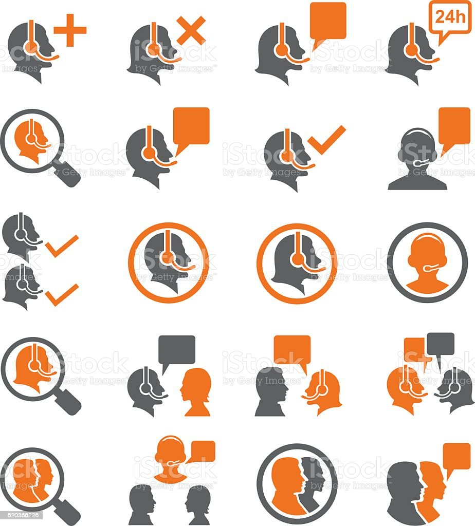 Call center service icons set vector art illustration