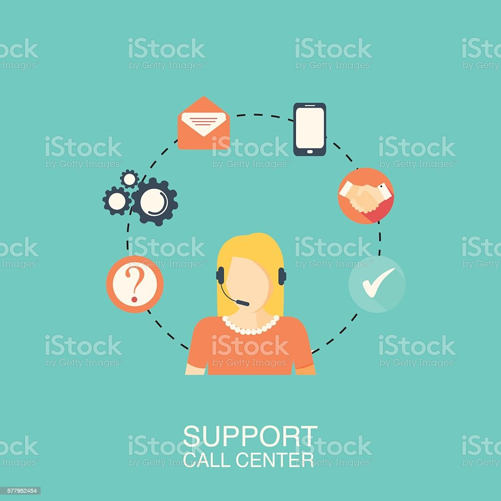 Call center with girl vector art illustration
