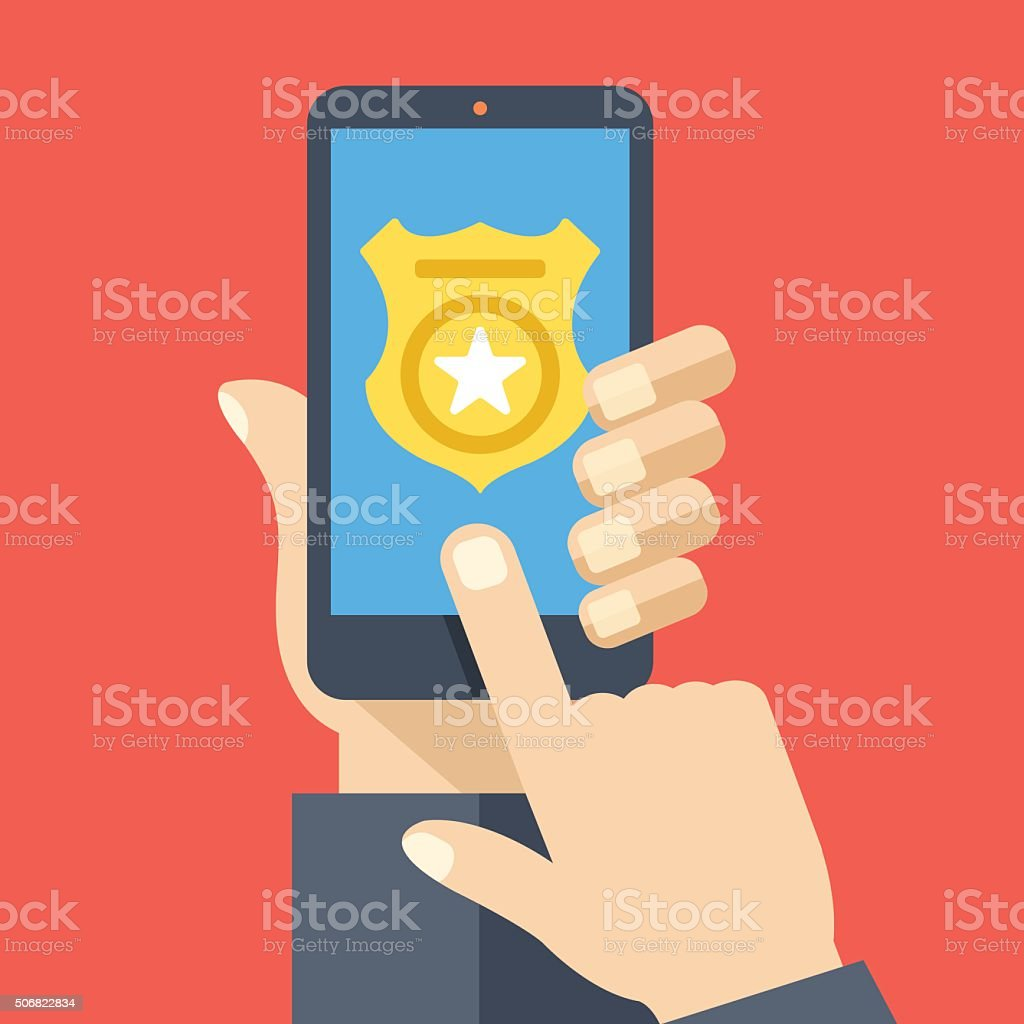 Call police app on smartphone screen. Emergency call concept vector art illustration
