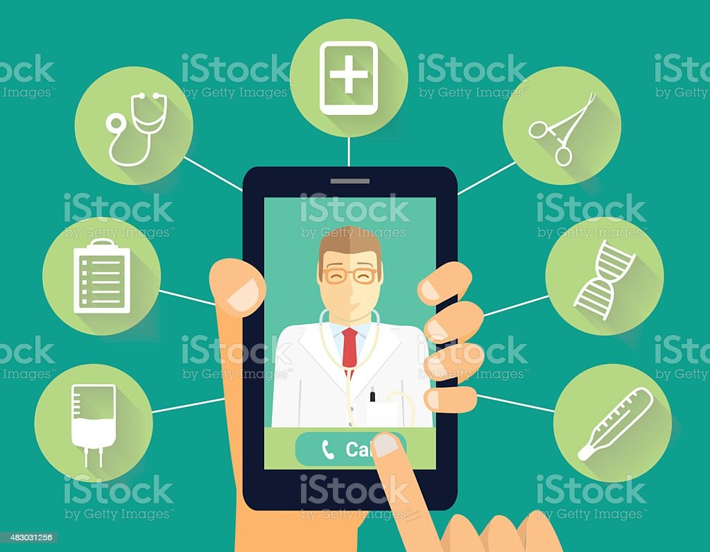 Call to doctor concept. Hand holds phone with smiling doctor. vector art illustration