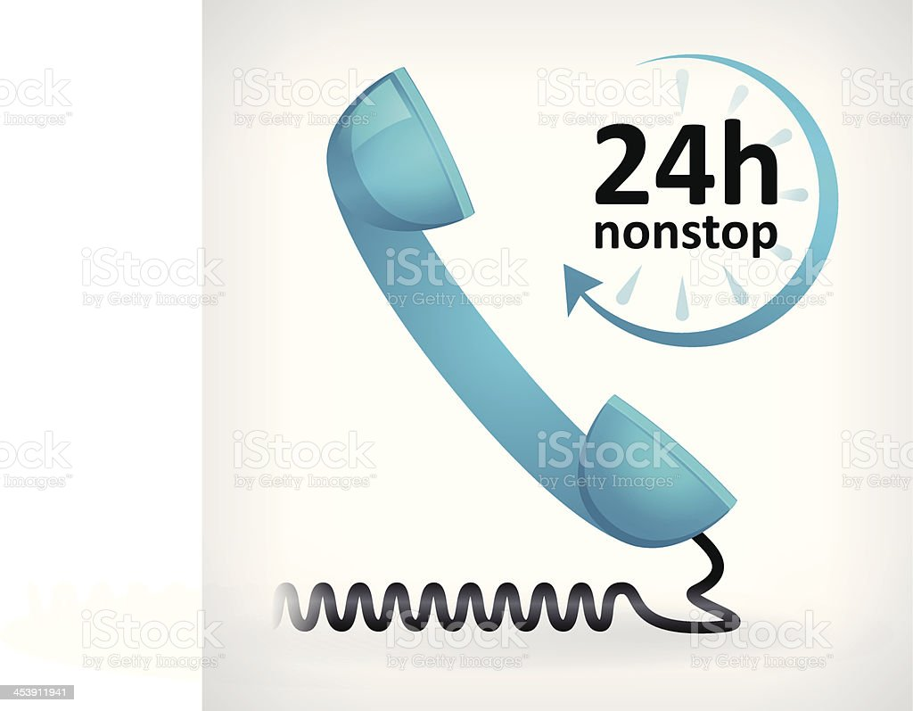 call us twenty four hours nonstop icon vector art illustration