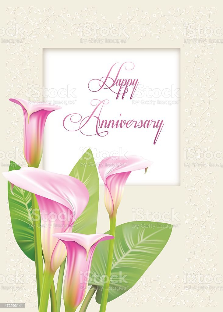 Calla Lily Anniversary Card vector art illustration