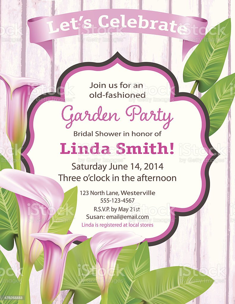 Calla Lily Bridal Shower Invitation Template vector art illustration