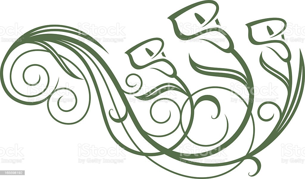 Calla Lily Floral Swirl stock vector art 165598192 | iStock