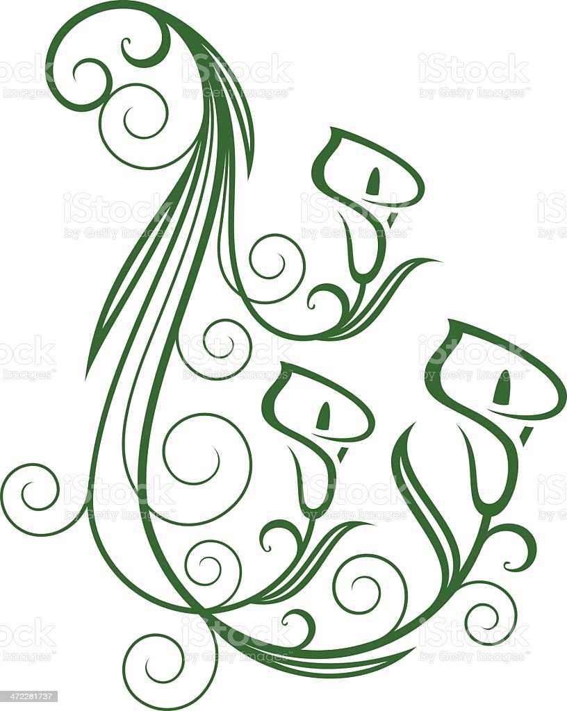 Calla Lily Floral Swirl stock vector art 472281737 | iStock