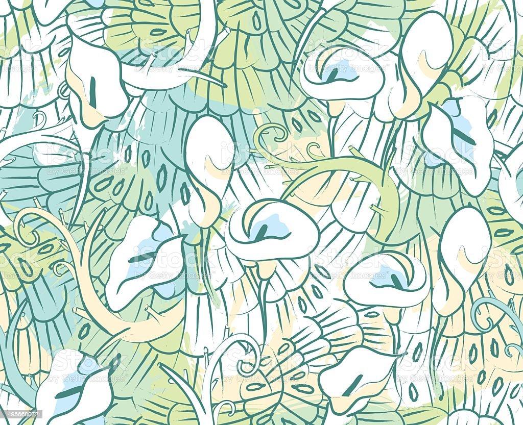 Calla Lily flower seamless pattern vector art illustration