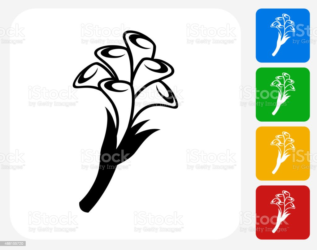 Calla lily Flowers Icon Flat Graphic Design vector art illustration