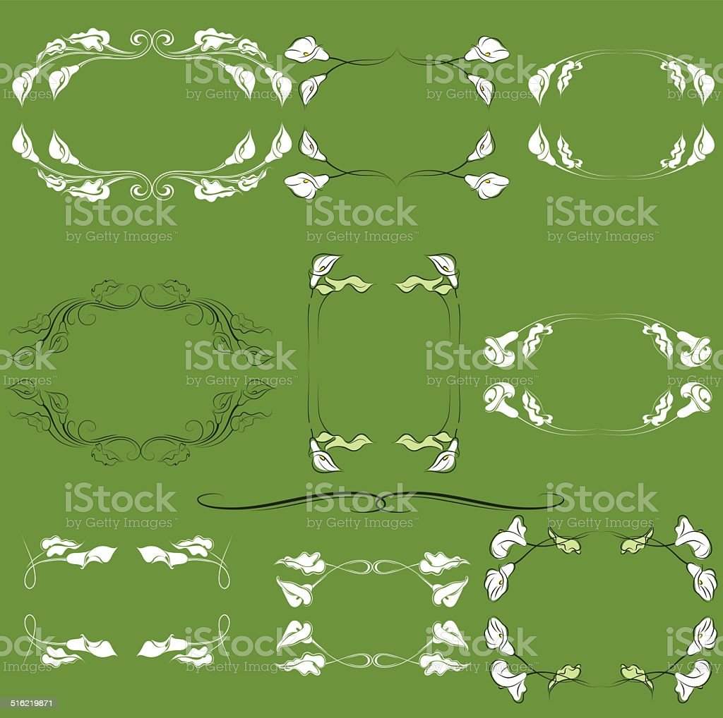 calla lily frames vector art illustration