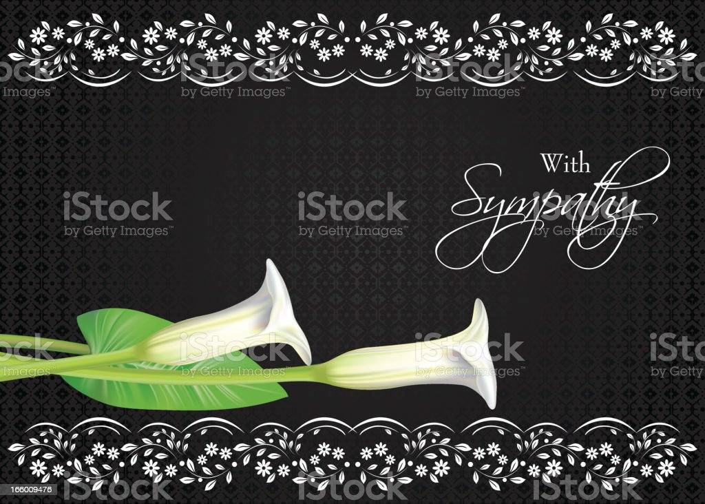 Calla Lily Sympathy Card royalty-free stock vector art