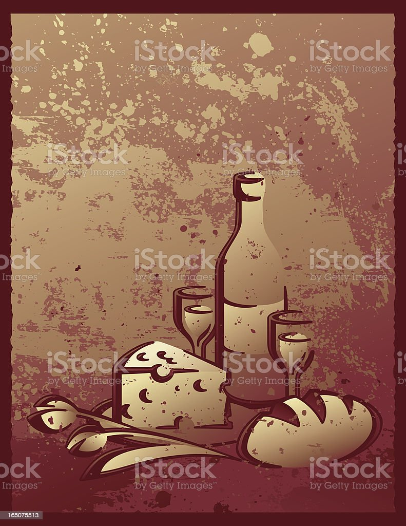 Calligraphic Bread, cheese & wine vector art illustration