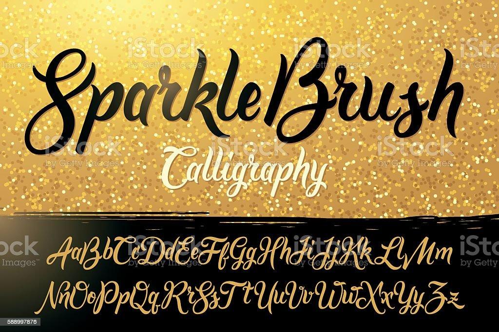 Calligraphic brushpen font with golden sparkles background vector art illustration