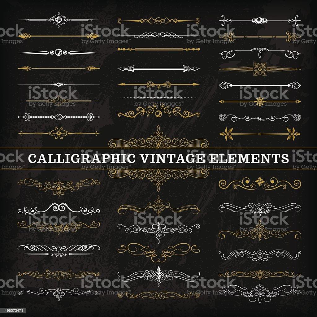 Calligraphic Chalkboard Elements vector art illustration
