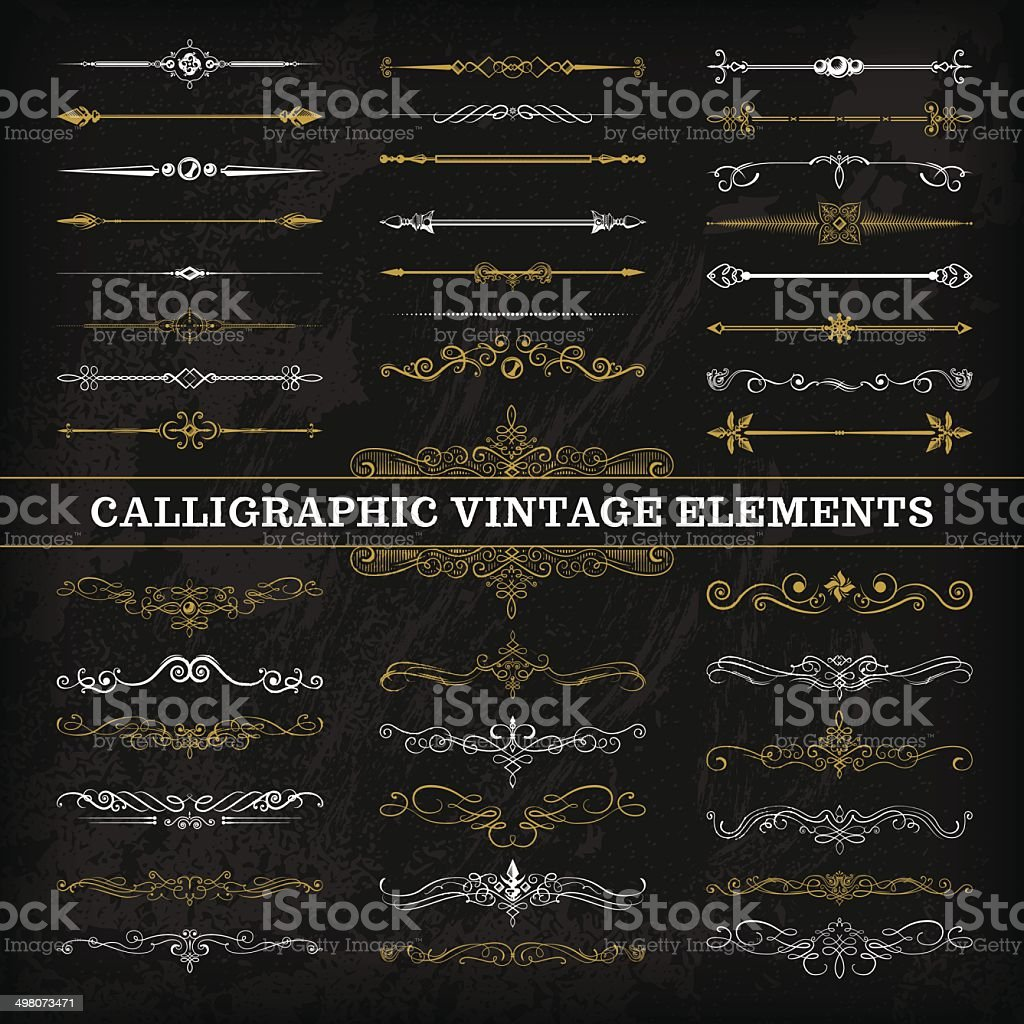 Calligraphic Chalkboard Elements vector art illustration