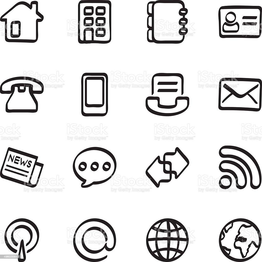 Calligraphic communication icons vector art illustration