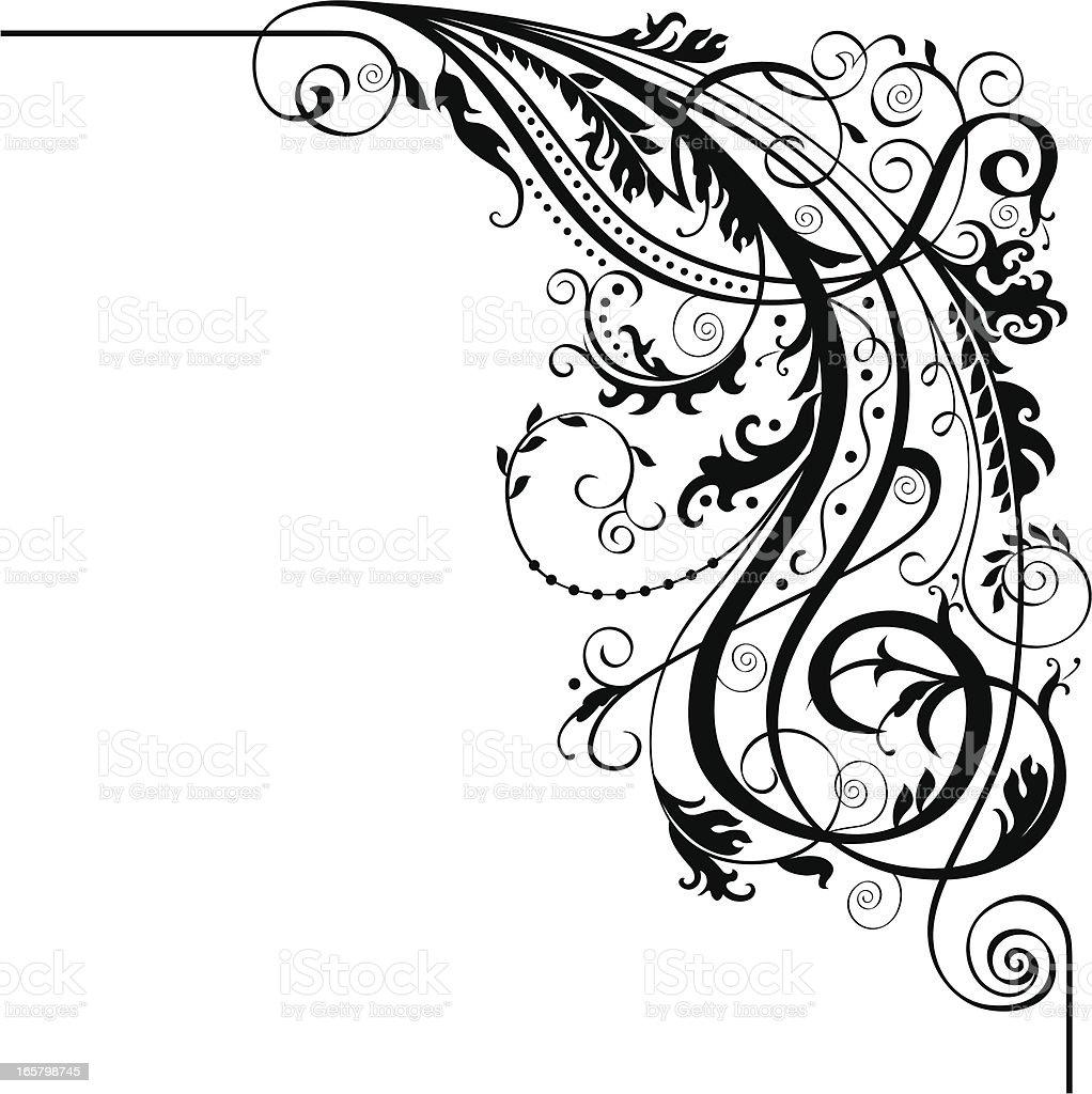 Calligraphic Corner royalty-free stock vector art