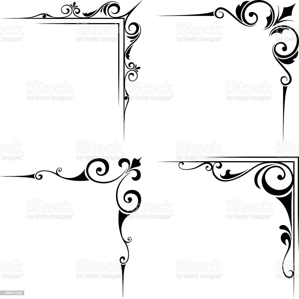 Calligraphic decorative black corner elements. Vector illustration. vector art illustration