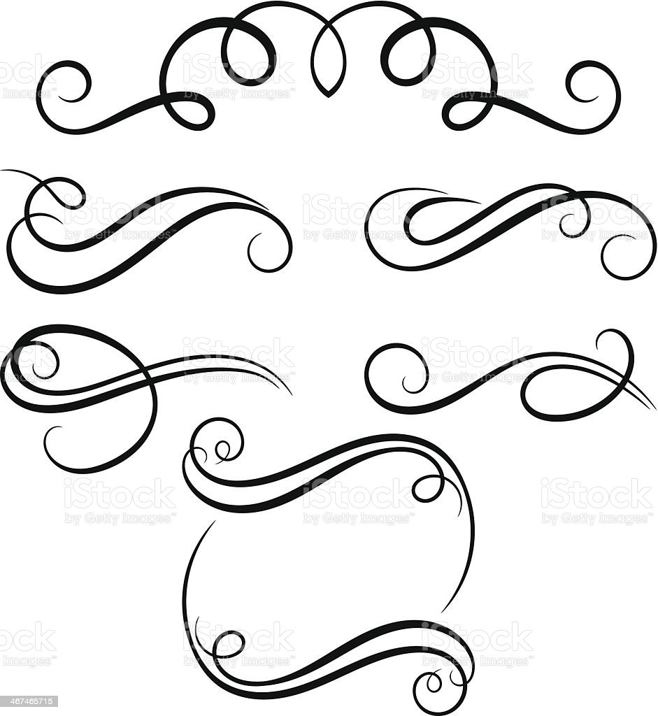 Calligraphic decorative elements. vector art illustration