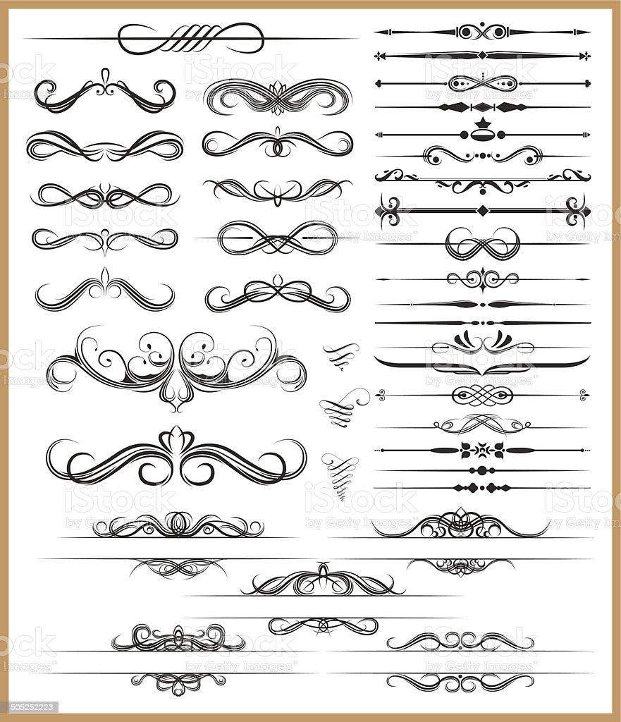 Calligraphic decorative elements vector art illustration