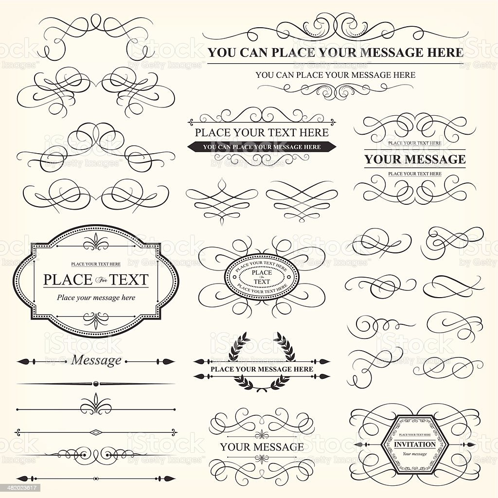 Calligraphic decorative elements & Vintage frames vector art illustration