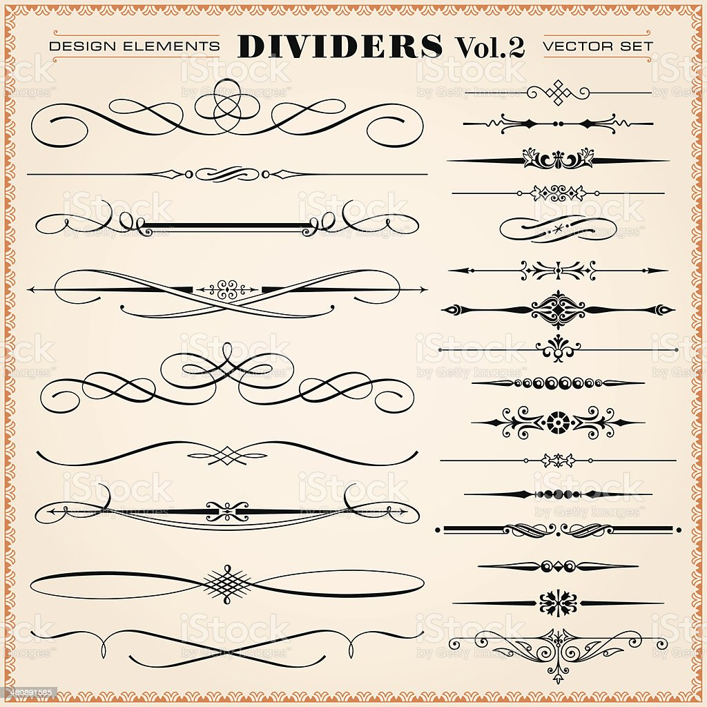 Calligraphic Design Elements, Dividers and Dashes vector art illustration
