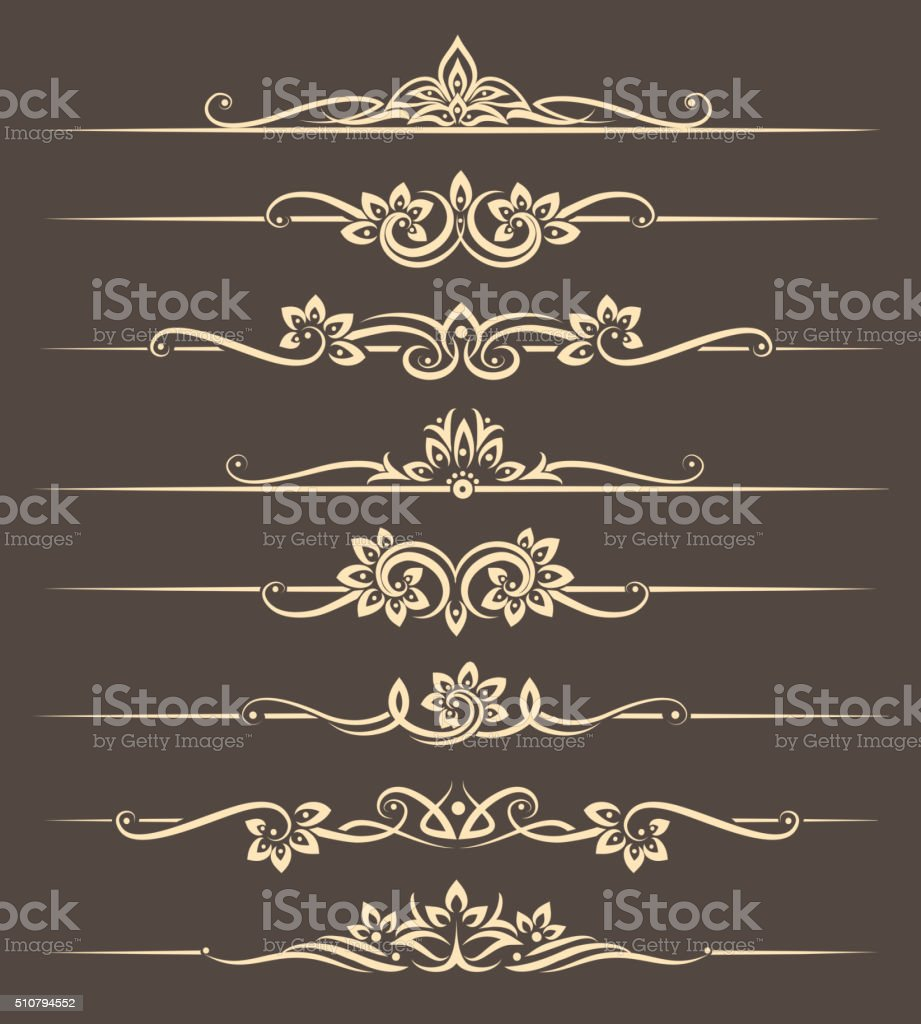 Calligraphic design elements, page dividers with thai ornament vector art illustration