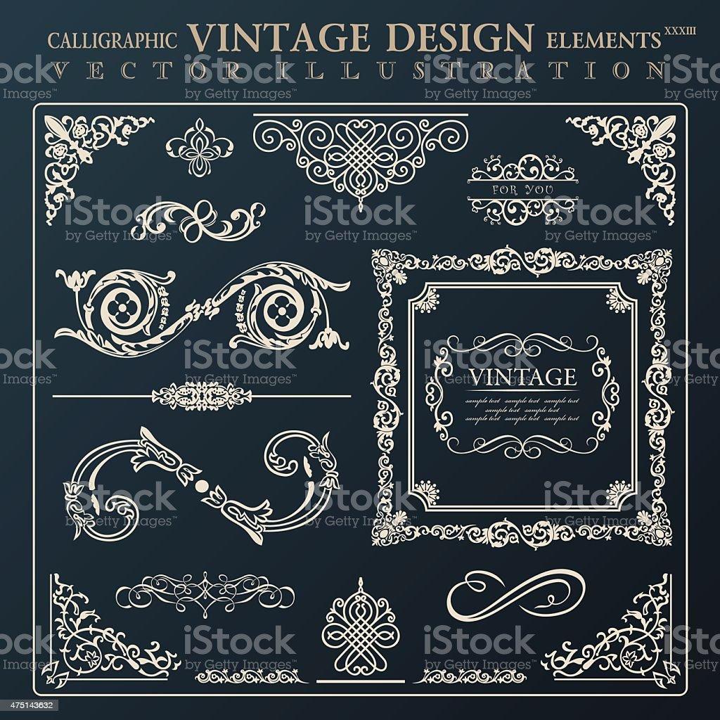 Calligraphic design elements vintage ornament. Vector frame deco vector art illustration