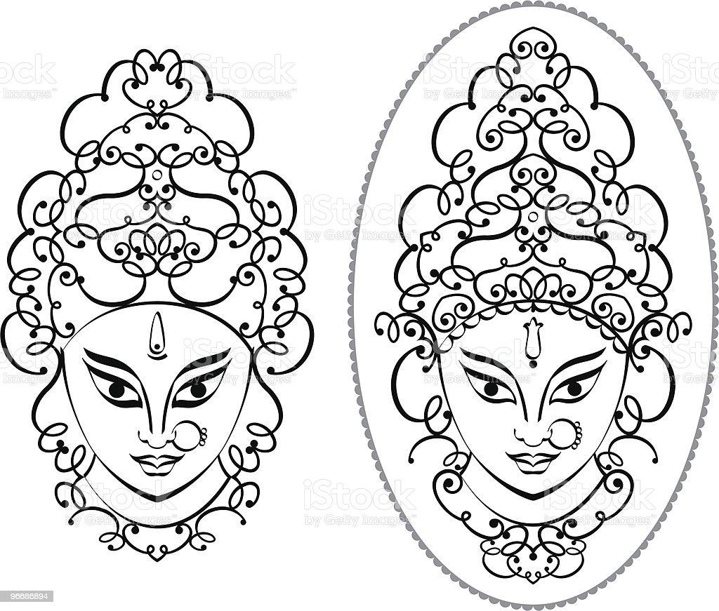 Calligraphic Durga Face royalty-free stock vector art