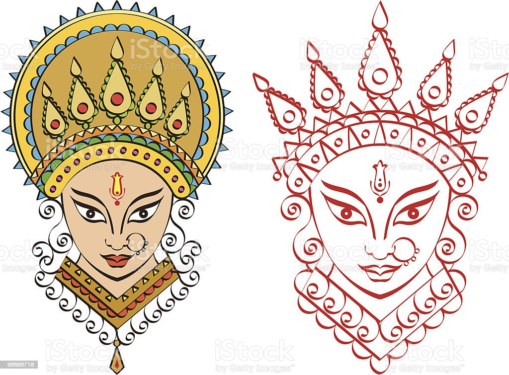 Calligraphic Durga Indian Goddess vector art illustration