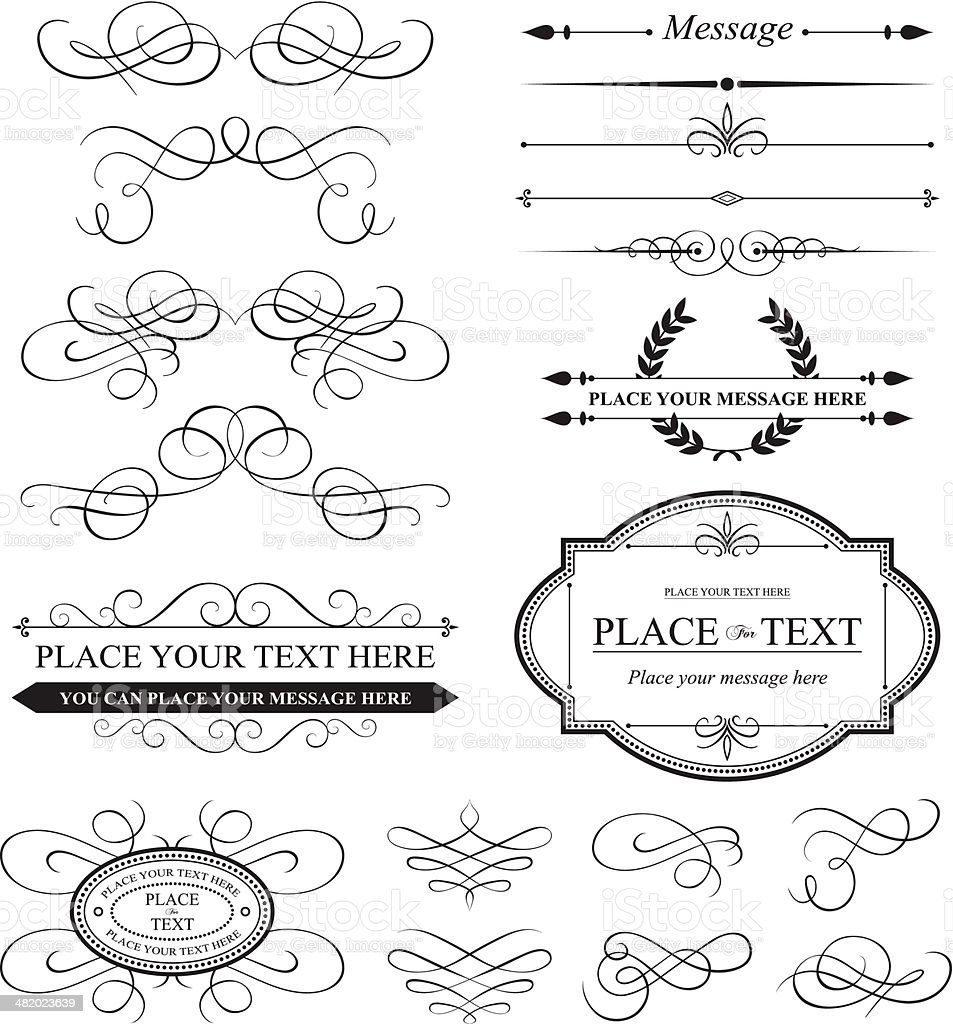 Calligraphic elements and Vintage frames royalty-free stock vector art