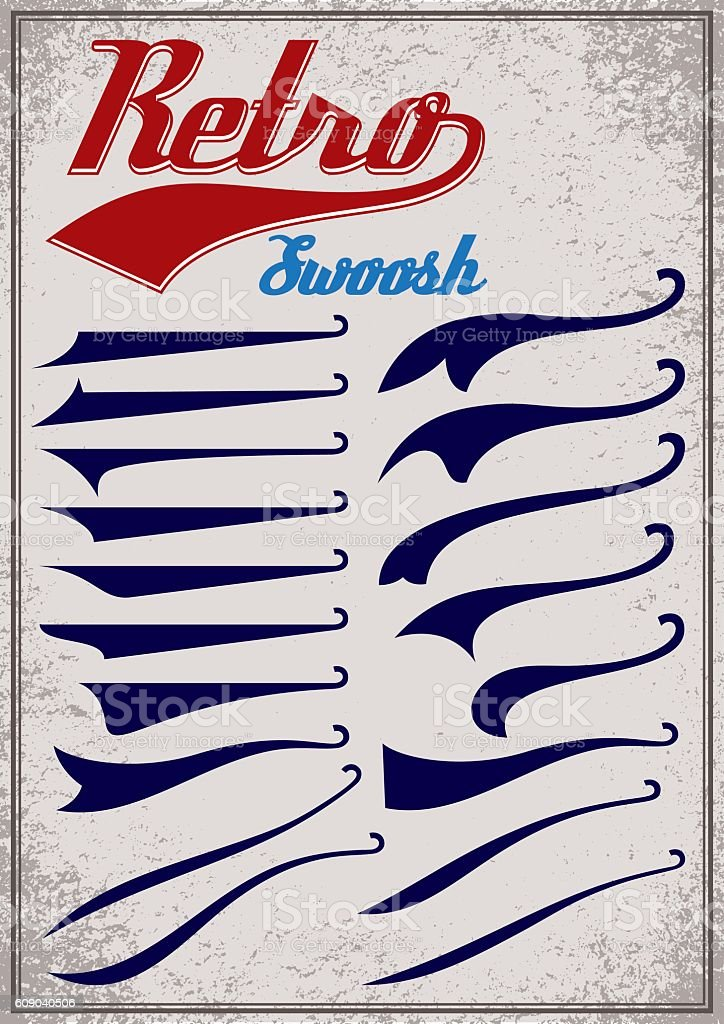calligraphic elements for design inscriptions in retro style. vector art illustration
