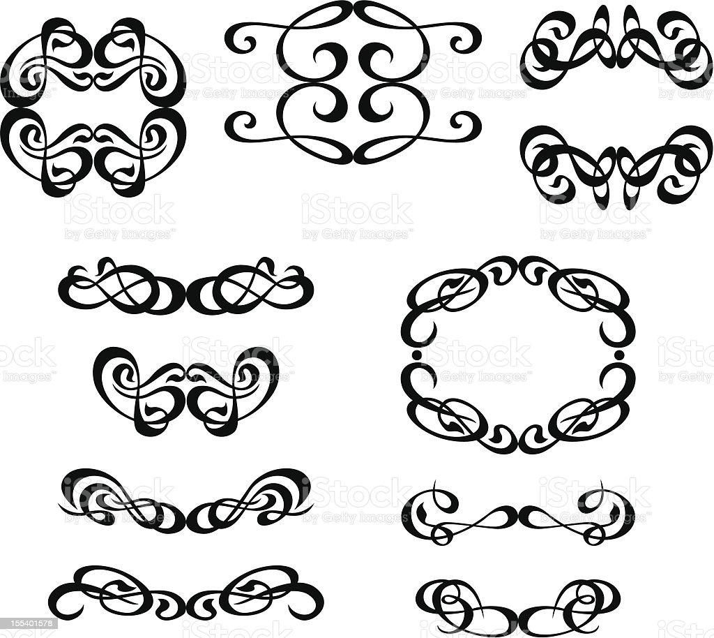 calligraphic elements set royalty-free stock vector art