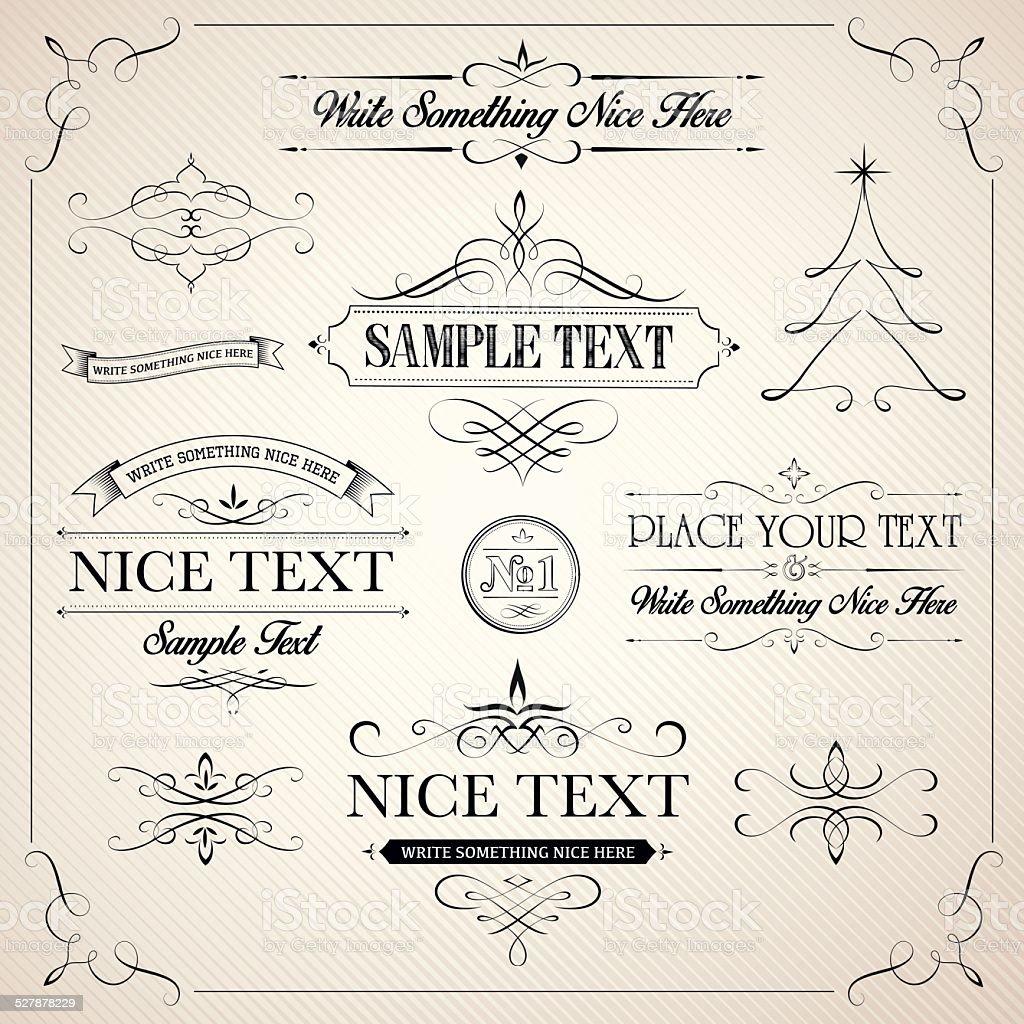 Calligraphic elements vector art illustration