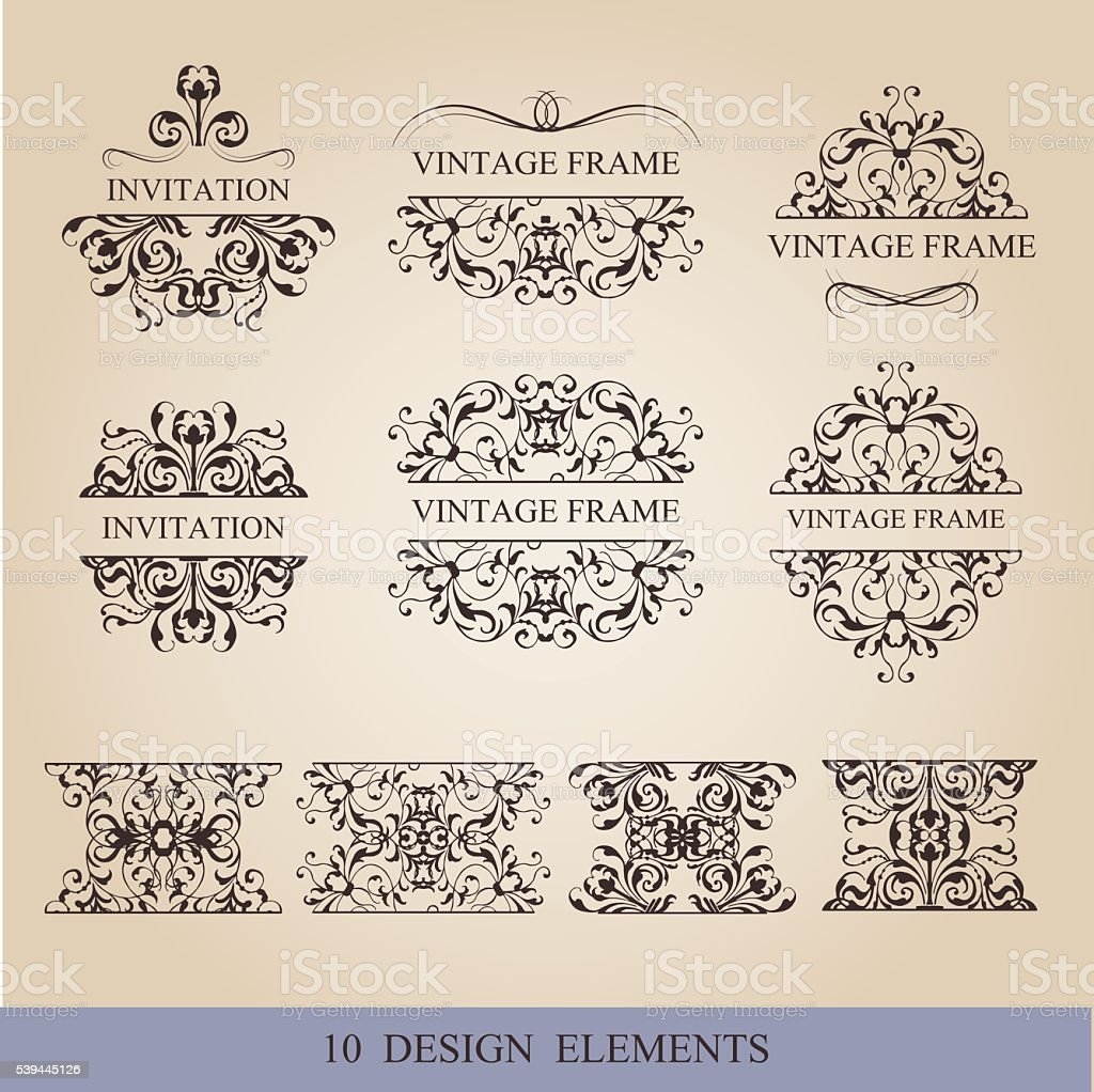 Calligraphic elements vintage set . Vector frame ornament royalty-free stock vector art