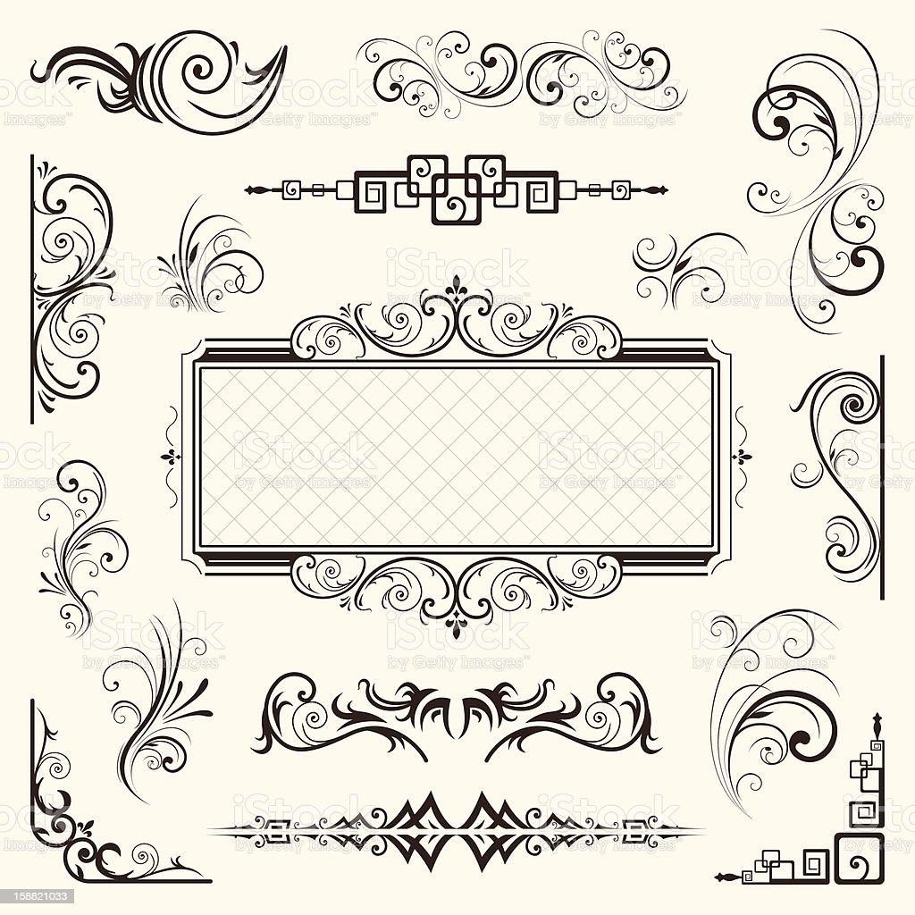 Calligraphic elements vintage vector stock photo