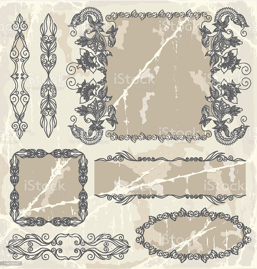 Calligraphic floral frames royalty-free stock vector art