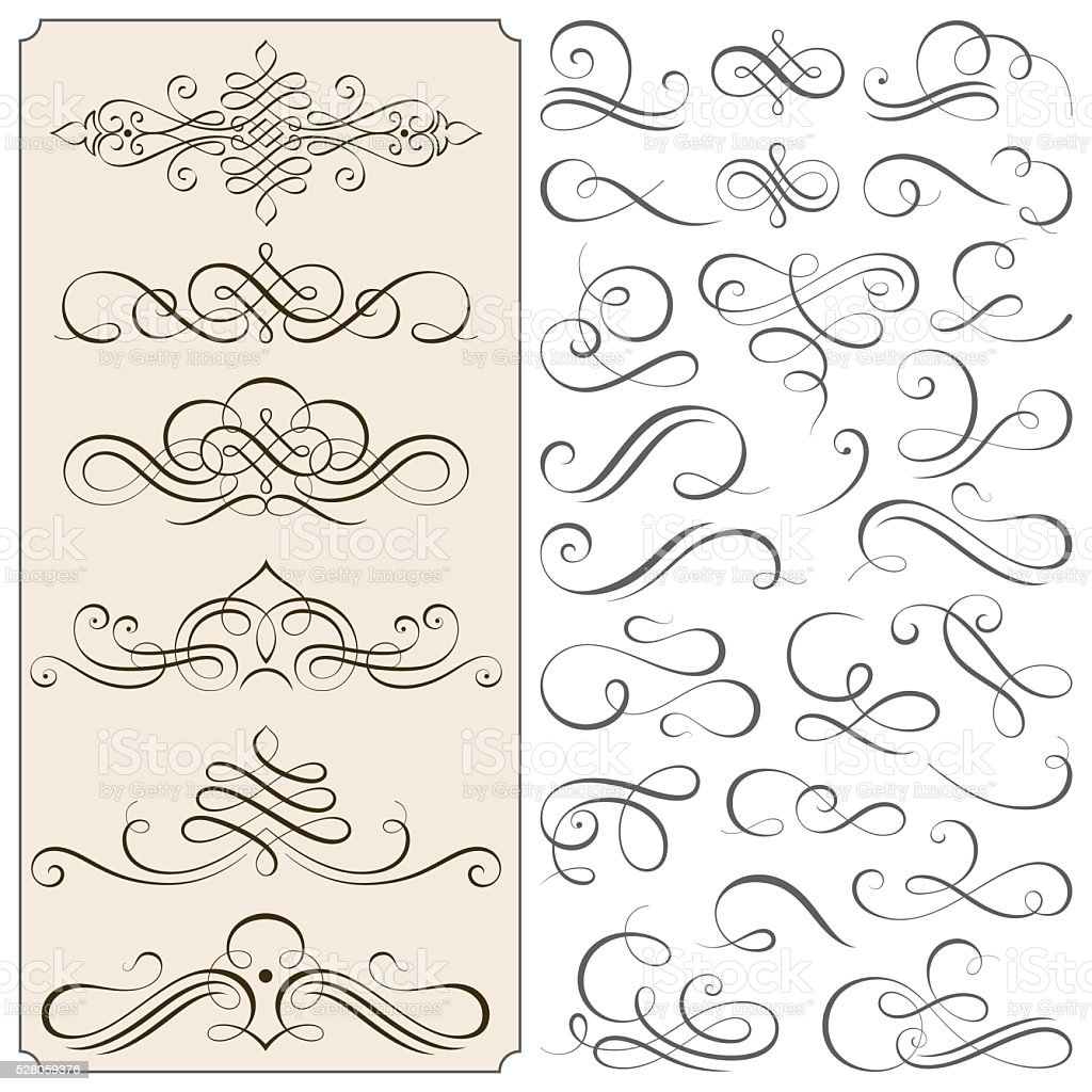 Calligraphic Flourishes And Scroll Elements vector art illustration