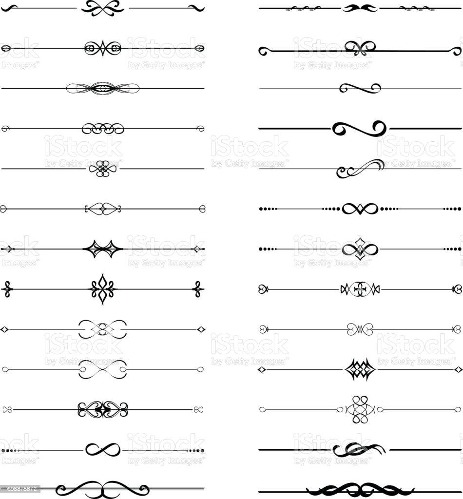 Calligraphic frame divider element set vector art illustration