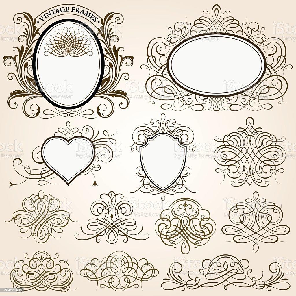 Calligraphic Frames And Design Elements vector art illustration