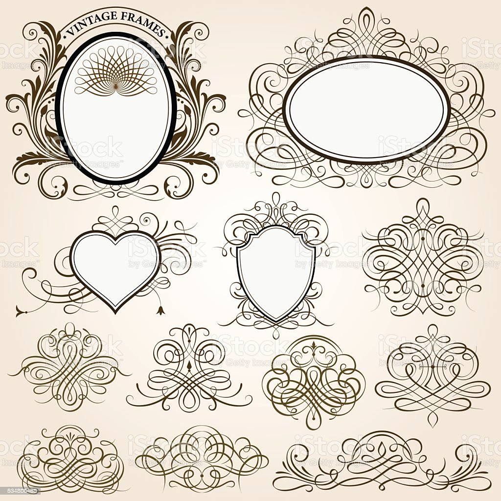 Calligraphic Frames And Design Elements vector art illustration