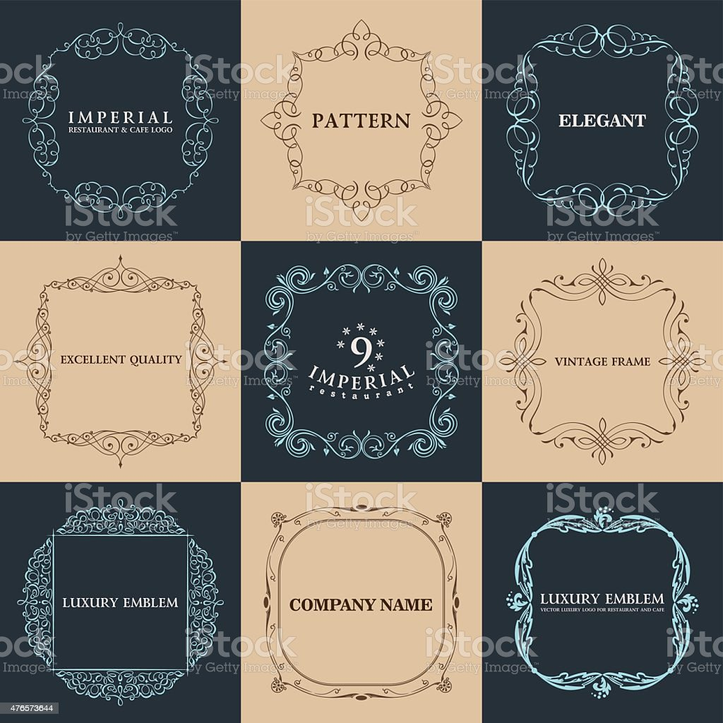 Calligraphic frames set. Vector vintage elegant text border vector art illustration