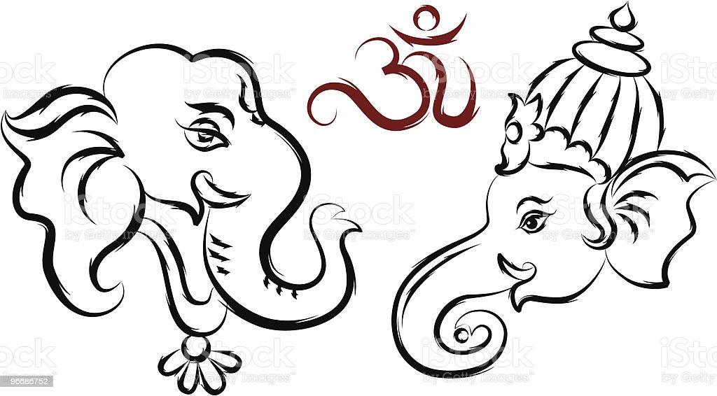 Calligraphic Ganesha, Aum royalty-free stock vector art