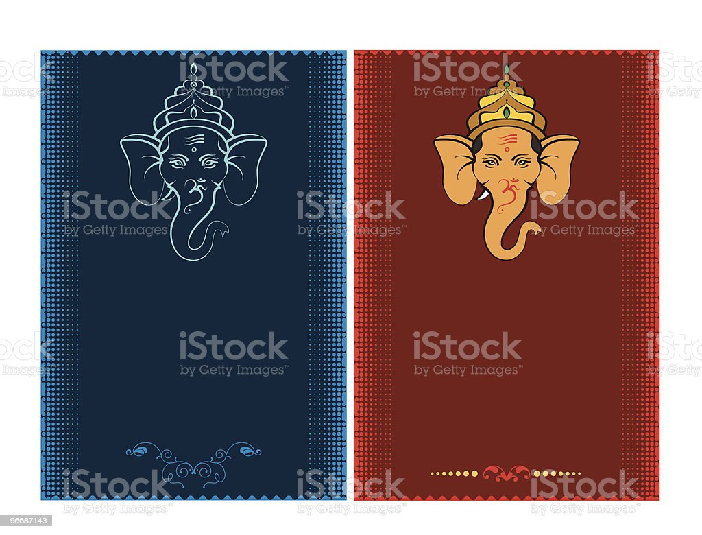 Calligraphic Ganesha vector art illustration