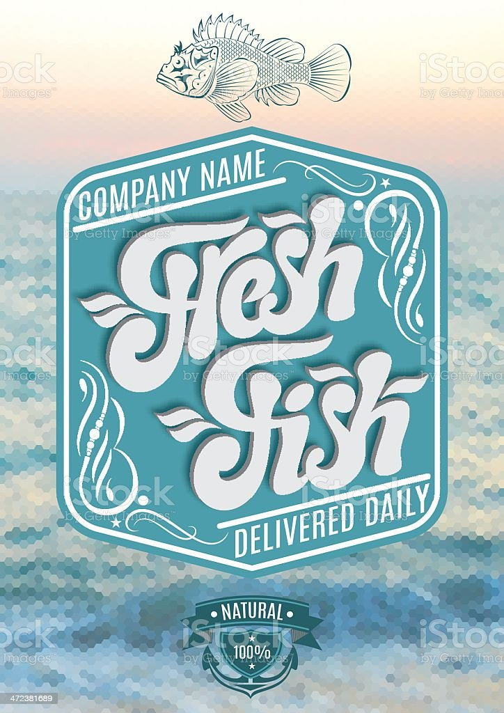 calligraphic inscription fresh fish on sea royalty-free stock vector art