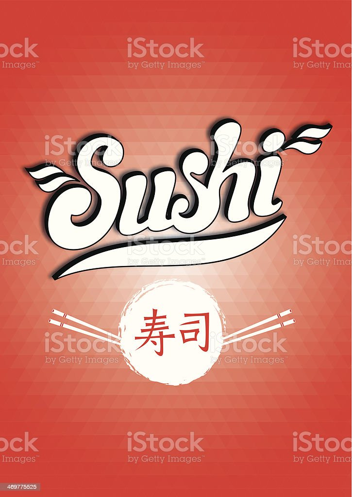 calligraphic inscription sushi on a red background polygon royalty-free stock vector art