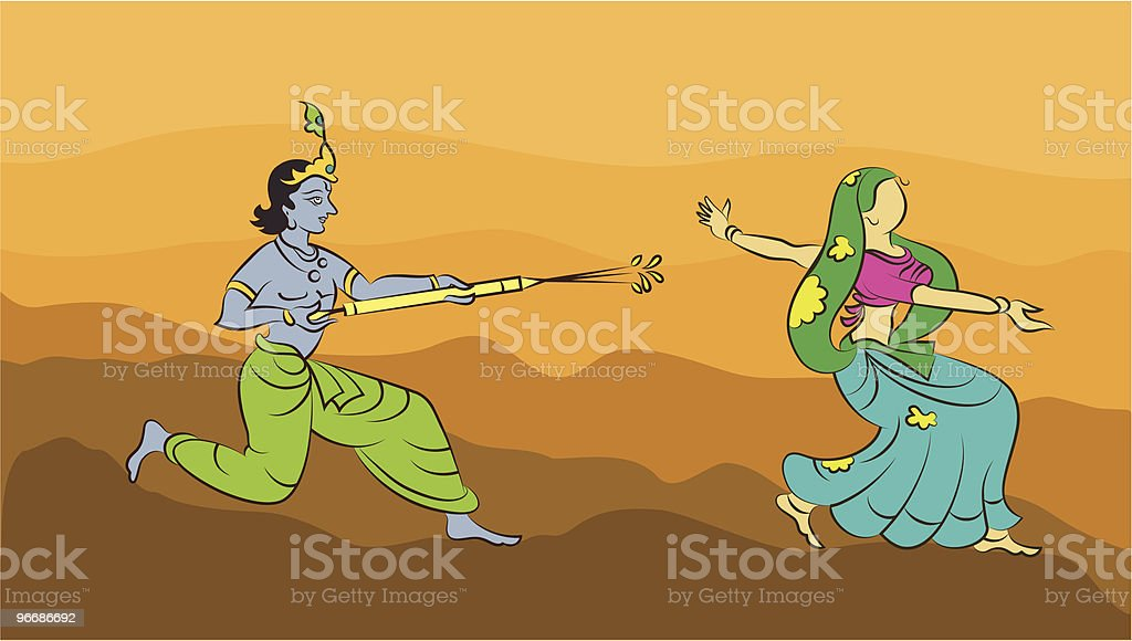 Calligraphic Krishna Playing Holi with Gopi vector art illustration