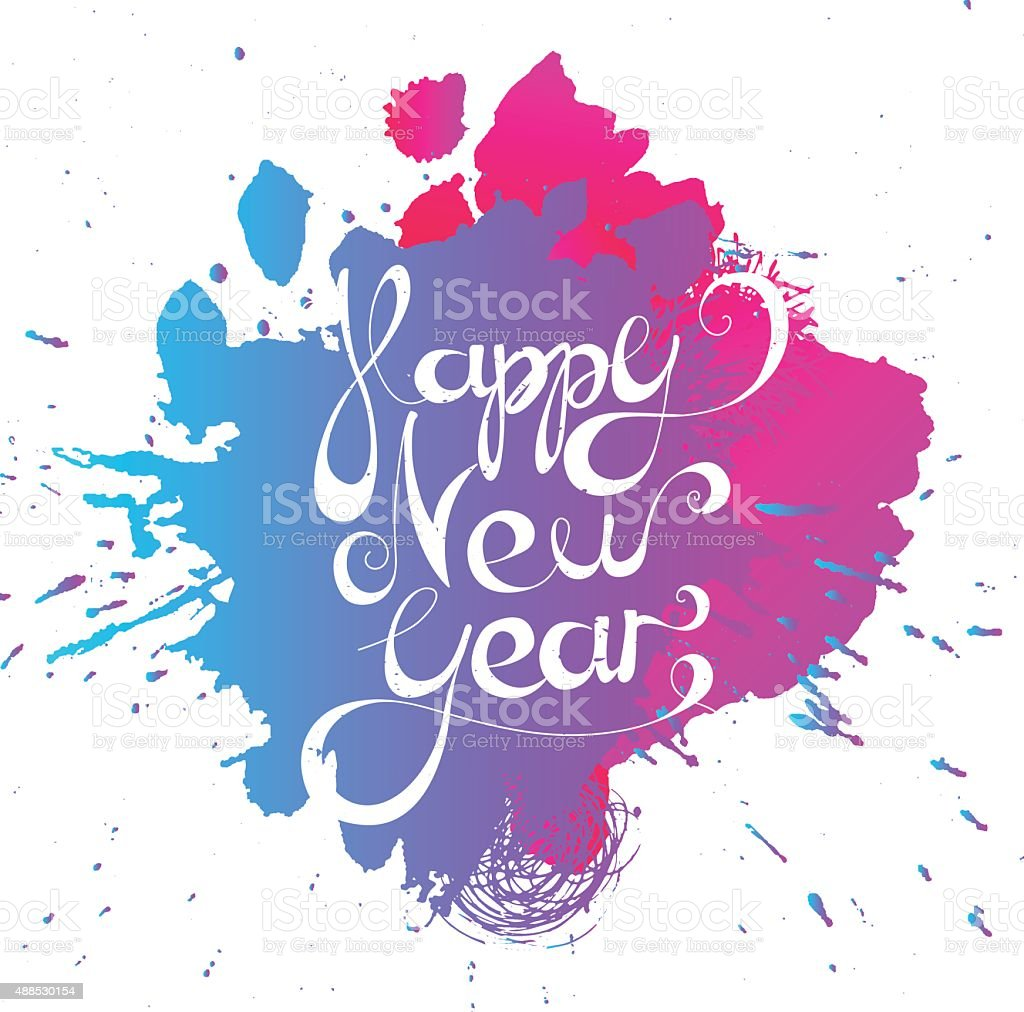Calligraphic New Year lettering vector art illustration