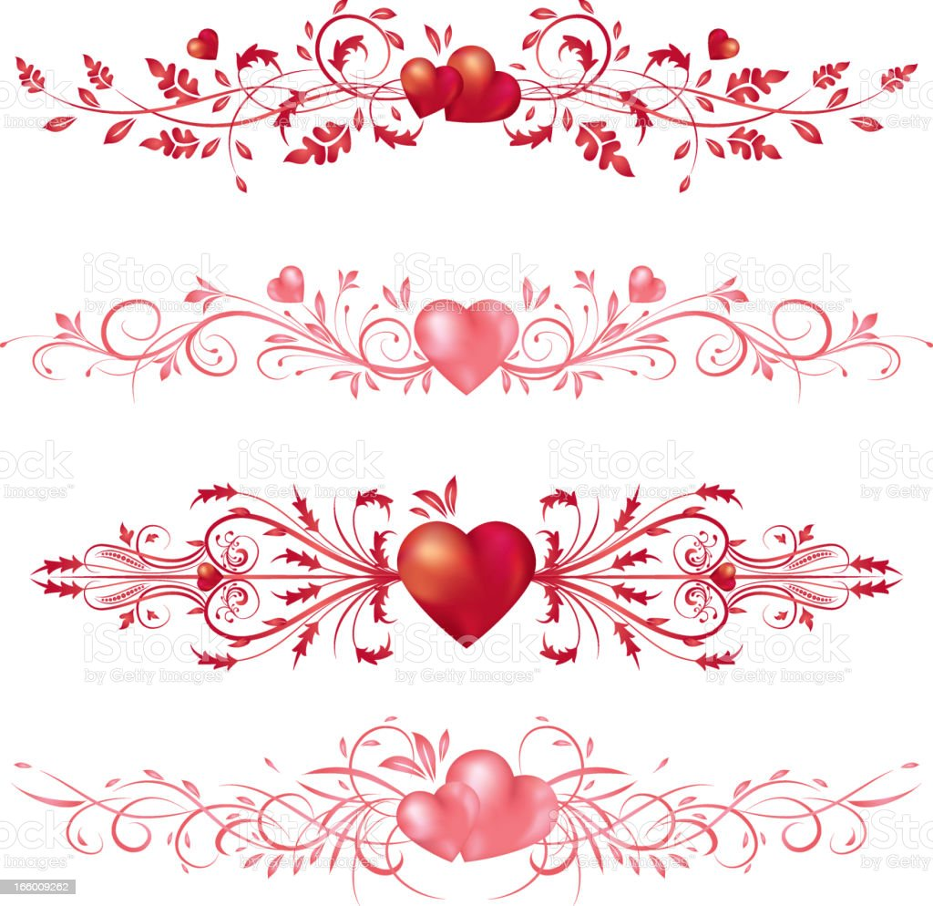 Calligraphic Valentine's day Hearts & Scrolls royalty-free stock vector art