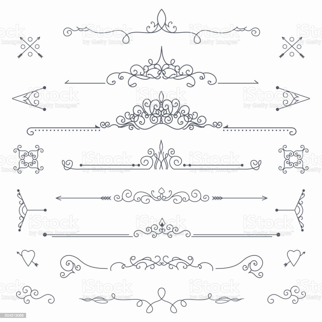 Calligraphic vector dividers vector art illustration
