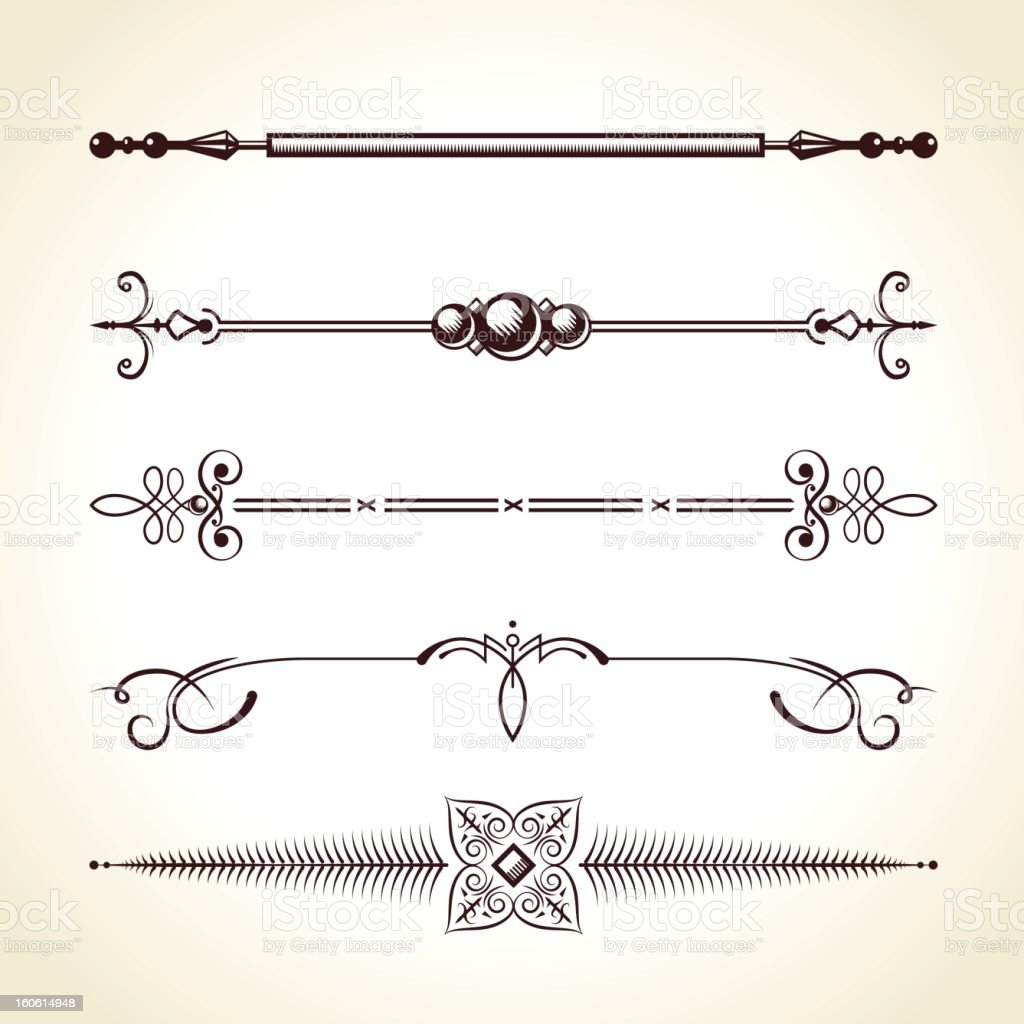 Calligraphic Vintage Dividers royalty-free stock vector art